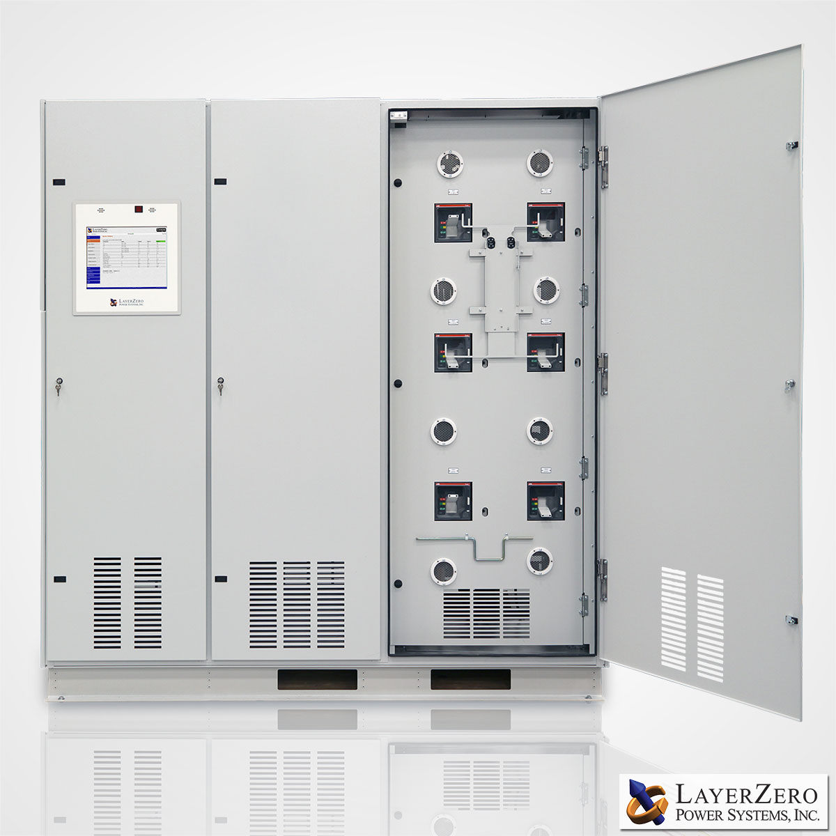 The LayerZero 4-Pole Static Transfer Switch Circuit Breaker Section.