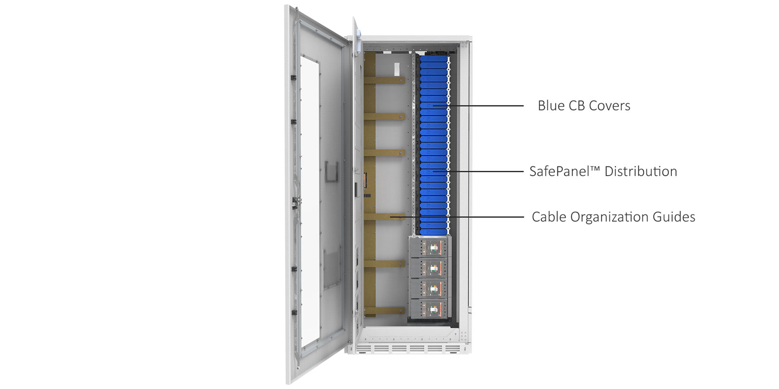 ePODs Type-X SF PDU Distribution Section Inner Doors Open