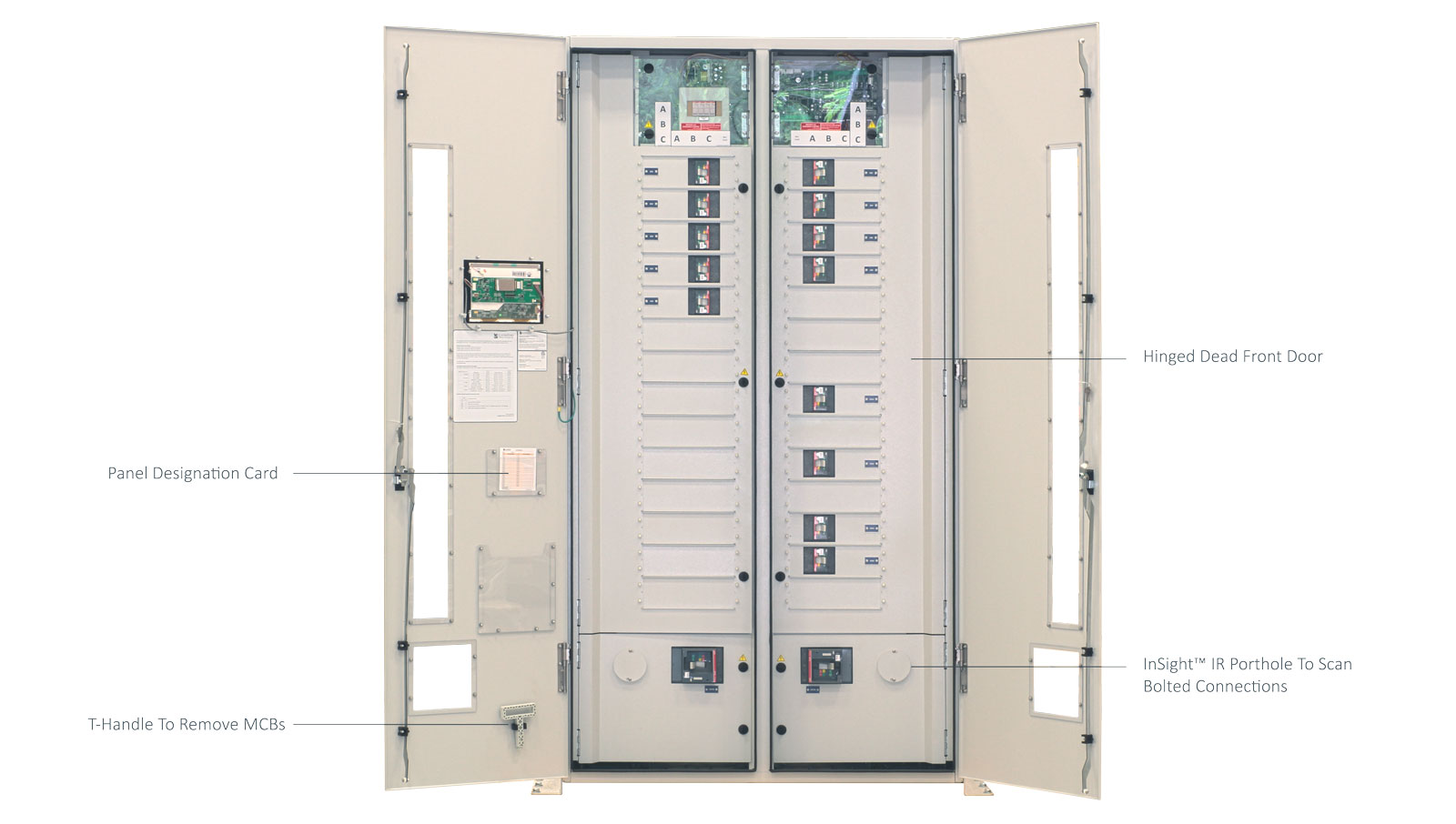 ePanel-HD2 High Density Power Panel with the Outer Door Open