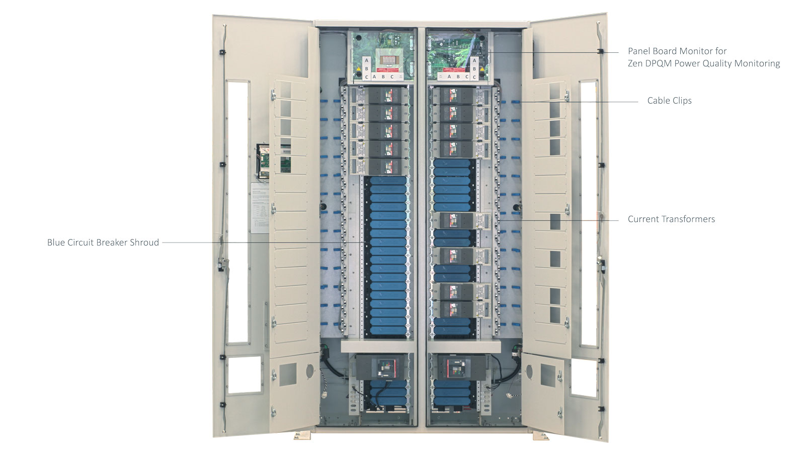 ePanel-HD2 High Density Power Panel with the Inner Door Open