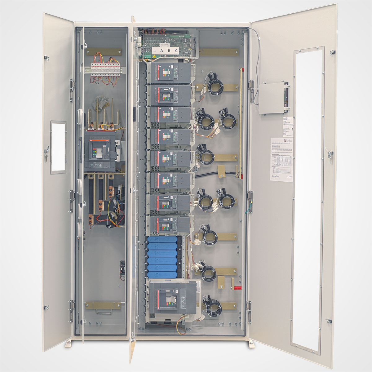 The LayerZero Series 70: eRDP Remote Distribution Panel with Dead Front Doors Open and Circuit Breakers.