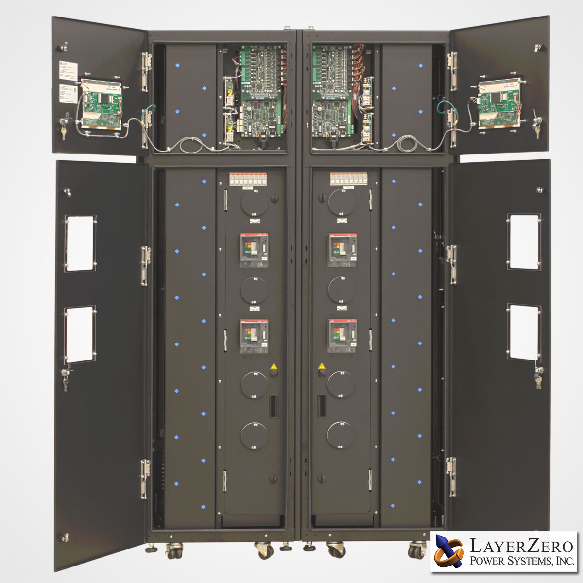 Two LayerZero Series 70: eRPP-FS Cabinets Side-By-Side Outer Doors Open.