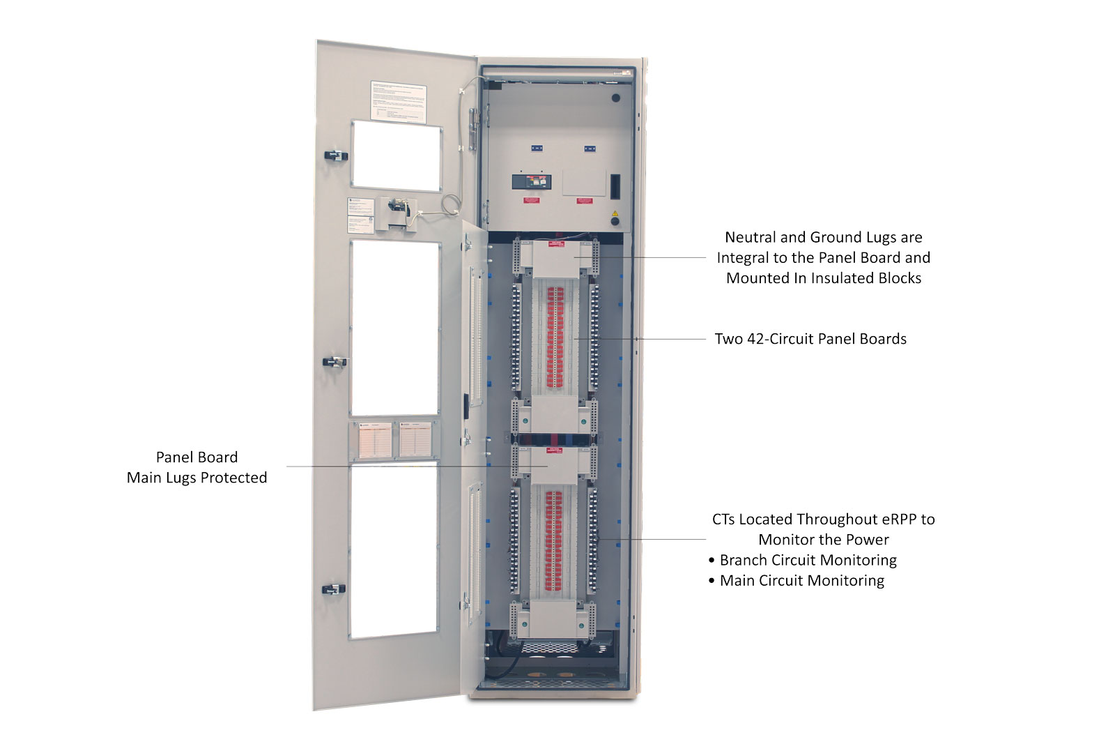 eRPP Remote Power Panel with the Bottom Dead Front Door Open